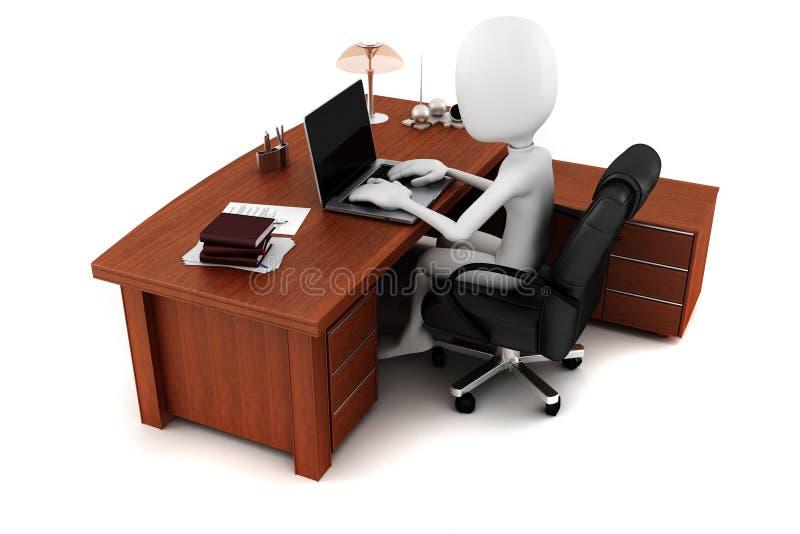 homme 3d travaillant à son bureau illustration de vecteur