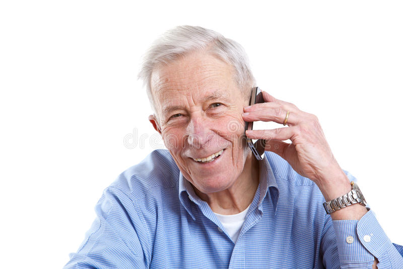 Homme aîné au téléphone photo libre de droits