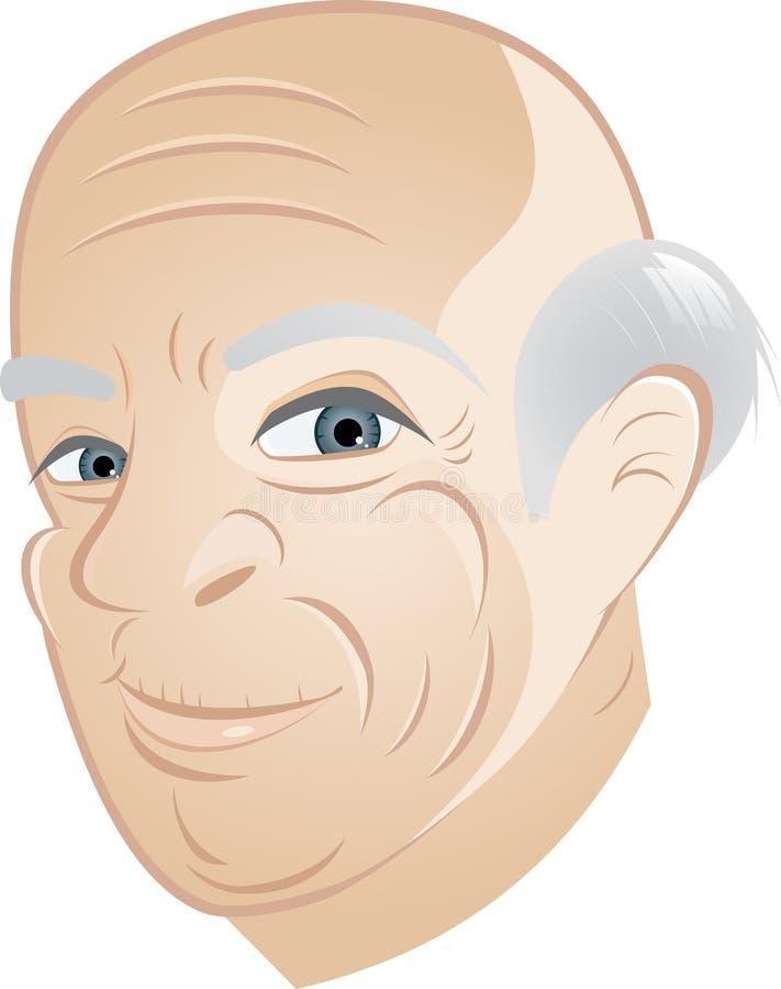 Homme aîné avec la tête chauve illustration stock