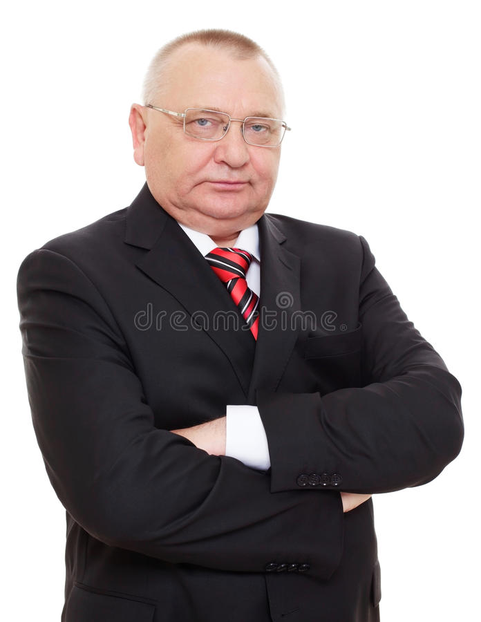 Homme aîné d'affaires dans le procès noir image libre de droits