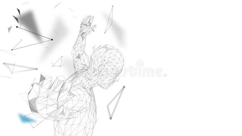 Homme abstrait conceptuel étant prêt pour sauter Lignes reliées, points, triangles, particules Intelligence artificielle illustration stock