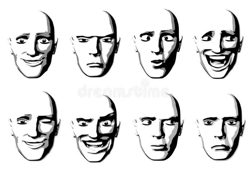 Homme abstrait d'expressions faciales illustration de vecteur