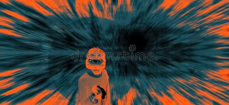 Homme abstrait en verres de VR dans le cyberespace image stock