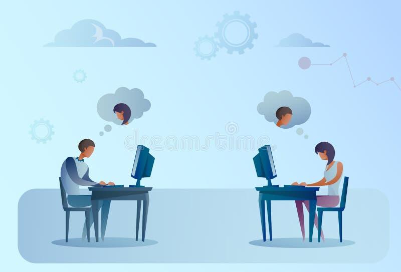 Homme abstrait et femme d'affaires s'asseyant à l'ordinateur portable fonctionnant de bureau causant Media Communication social illustration de vecteur