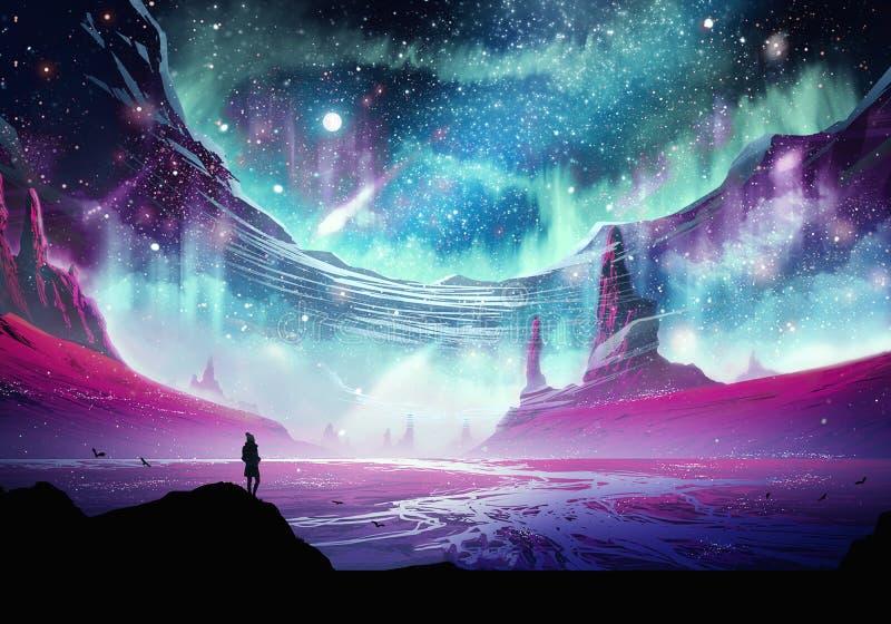 Homme abstrait sur une montagne glaçant à la belle galaxie de nébuleuse illustration stock