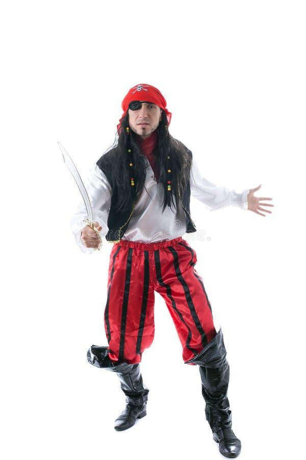 Homme adulte habillé comme pirate, d'isolement sur le blanc photos libres de droits