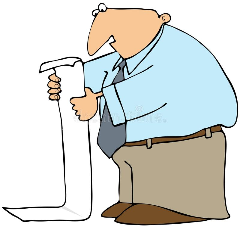 Homme affichant la longue liste illustration libre de droits