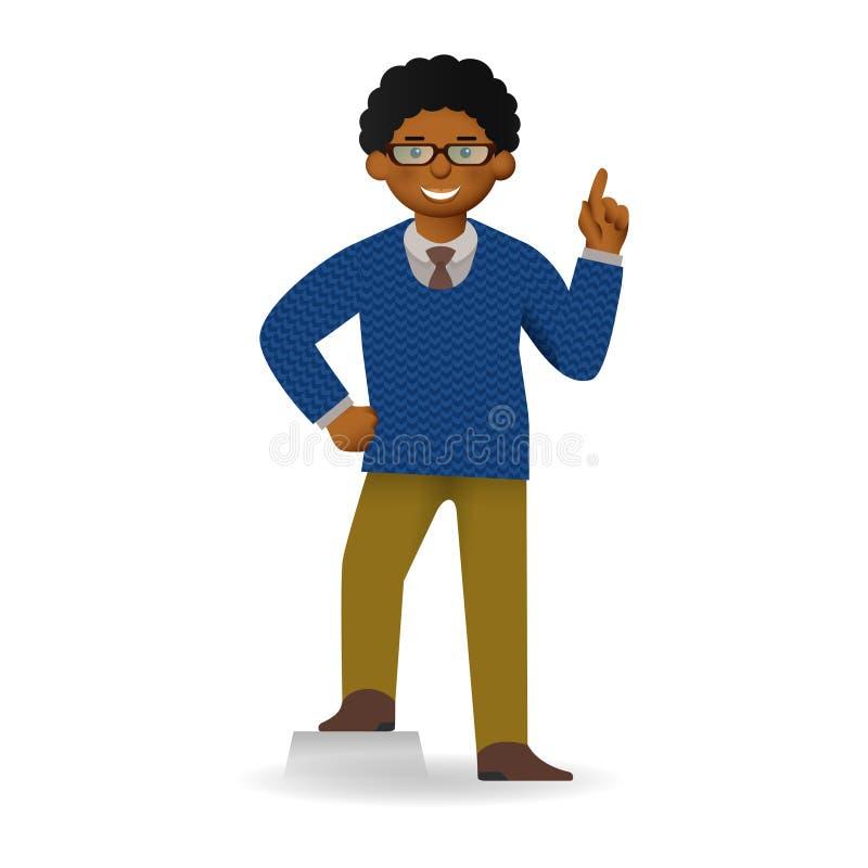 Homme africain effronté dans la pose de chandail et de chemise Geste d'attention illustration de vecteur