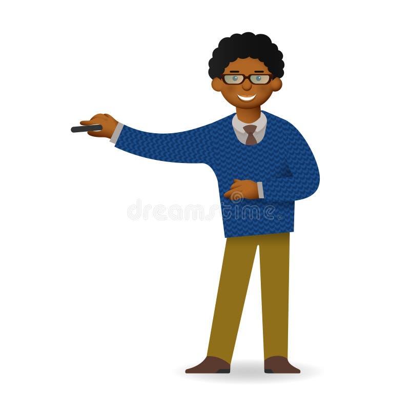 Homme africain effronté dans la pose de chandail et de chemise Professeur ou conférencier illustration stock