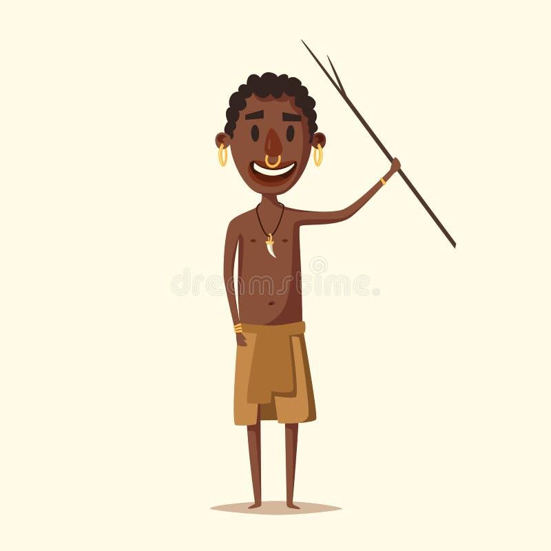 Homme africain Sud-américain indigène Illustration de vecteur de dessin animé illustration de vecteur