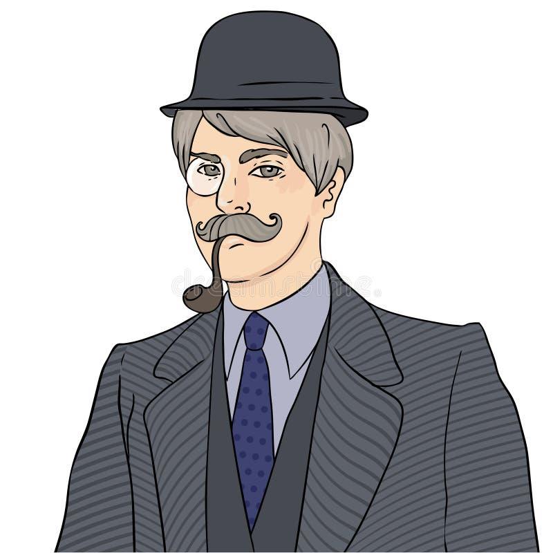 Homme anglais Monsieur dans le chapeau de lanceur, le monocle et le tobac de smocks illustration libre de droits