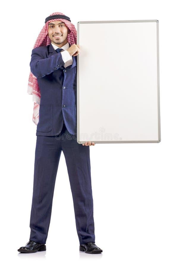 Homme arabe avec le panneau blanc image stock