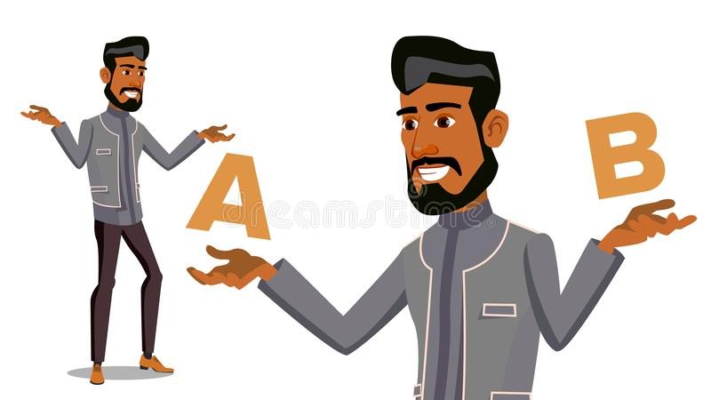Homme arabe comparant A au vecteur de B Équilibre d'esprit et d'émotions Choix de client Comparez les objets, manières, idées D'i illustration de vecteur