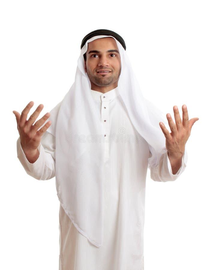 Homme arabe dans l'éloge, la prière ou le culte photos stock