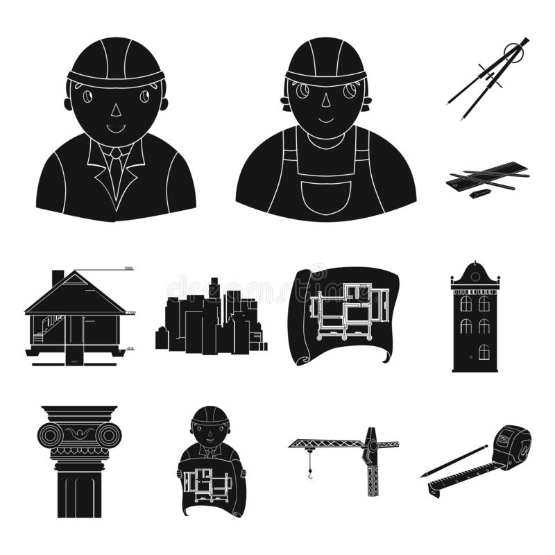 Homme, architecte, plan, dessin, grue, se soulevant, machine, bande, mesure, crayon, architecture, bâtiment, art, monument illustration libre de droits