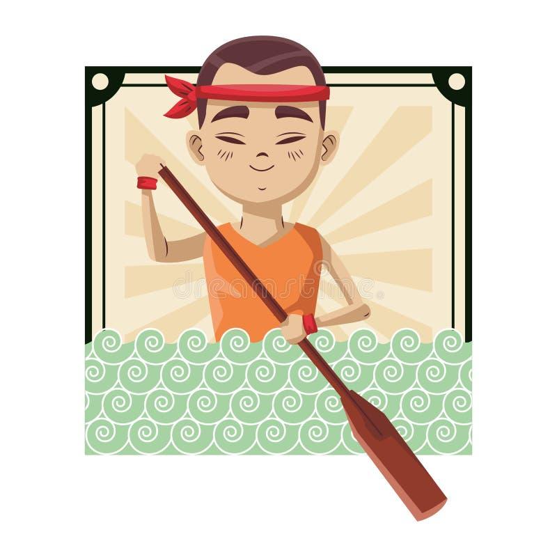 Homme asiatique avec l'aviron illustration de vecteur