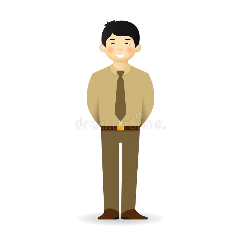 Homme asiatique effronté dans la pose de costume Position avec des mains derrière illustration libre de droits
