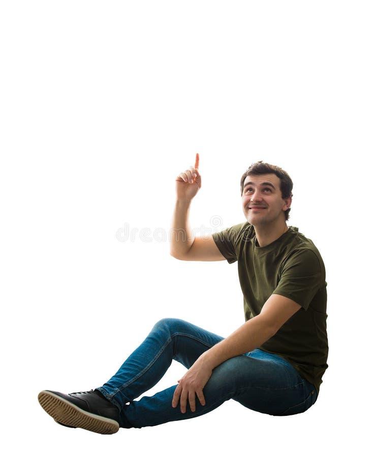 Homme assis révélant image libre de droits