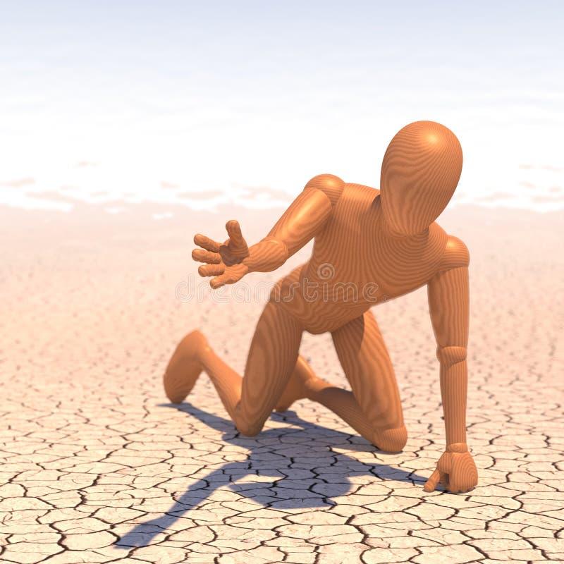 Homme assoiffé, chiffre dans le désert priant pour l'eau illustration stock