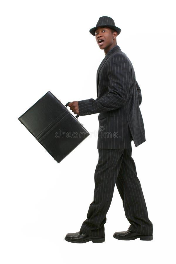 Homme attirant d'affaires dans le procès rayé et le chapeau de Pin photos libres de droits