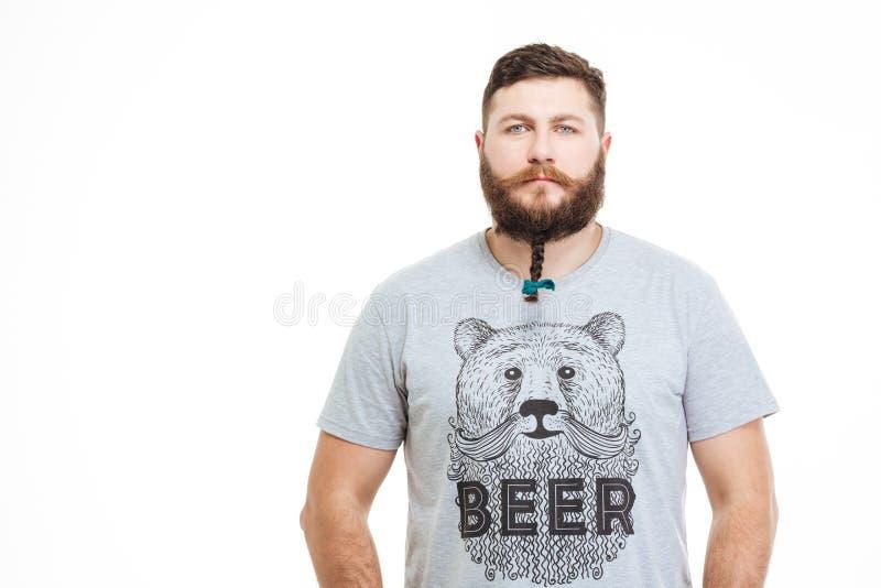 homme attirant s rieux avec la petite tresse sur sa barbe photo stock image du closeup mode. Black Bedroom Furniture Sets. Home Design Ideas