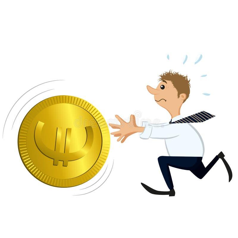 Homme attrapant une grande pièce de monnaie illustration de vecteur