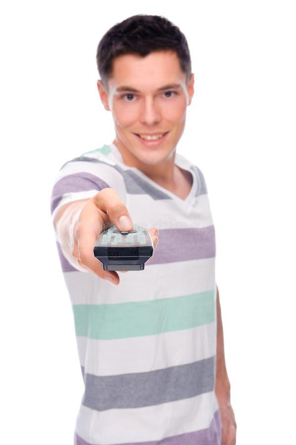Homme avec à télécommande photos libres de droits