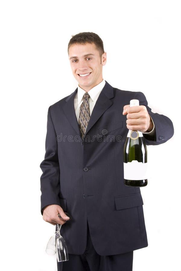 Homme avec Champagne photos stock