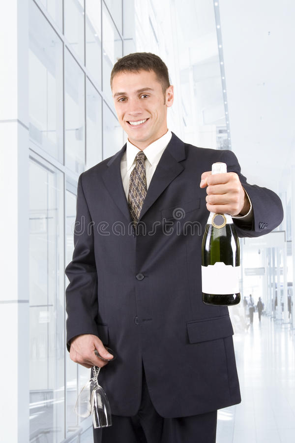 Homme avec Champagne photographie stock