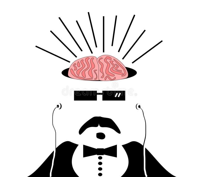 Homme avec des cerveaux exposés illustration libre de droits