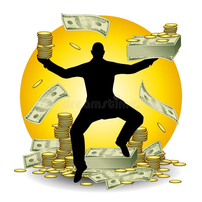 Homme avec des chargements d'argent comptant et d'argent illustration libre de droits