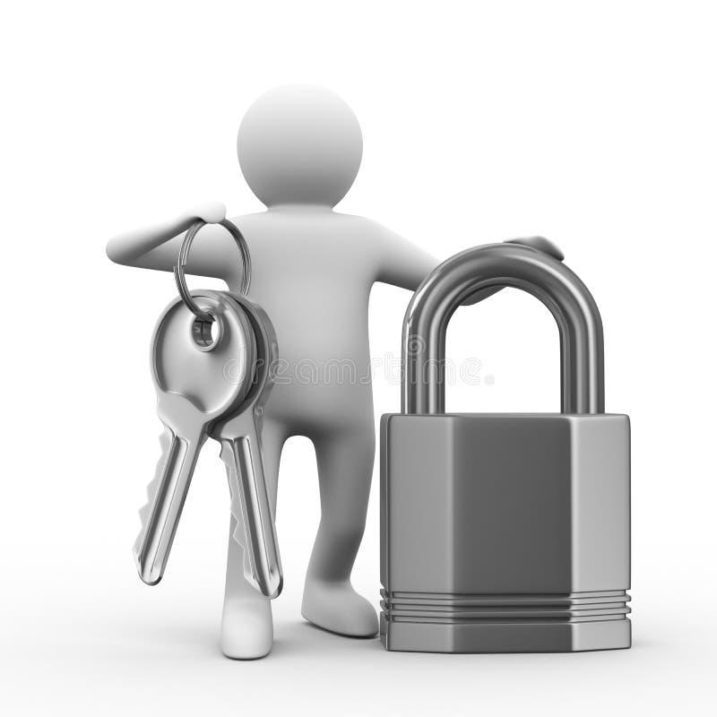 Homme avec des clés et blocage sur le fond blanc illustration stock