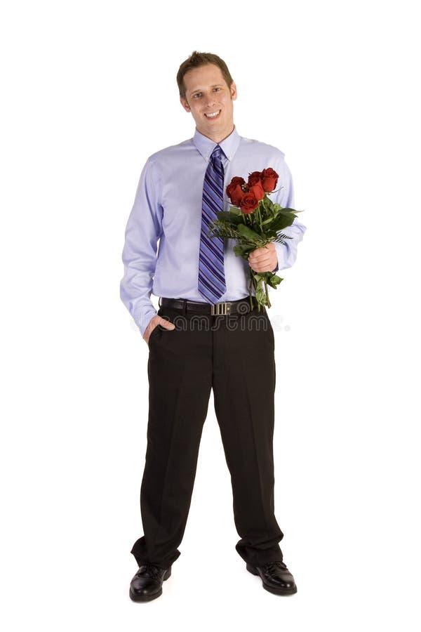 Homme avec des fleurs image libre de droits