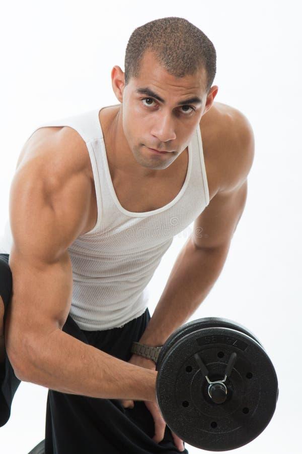 Homme avec des muscles photo stock