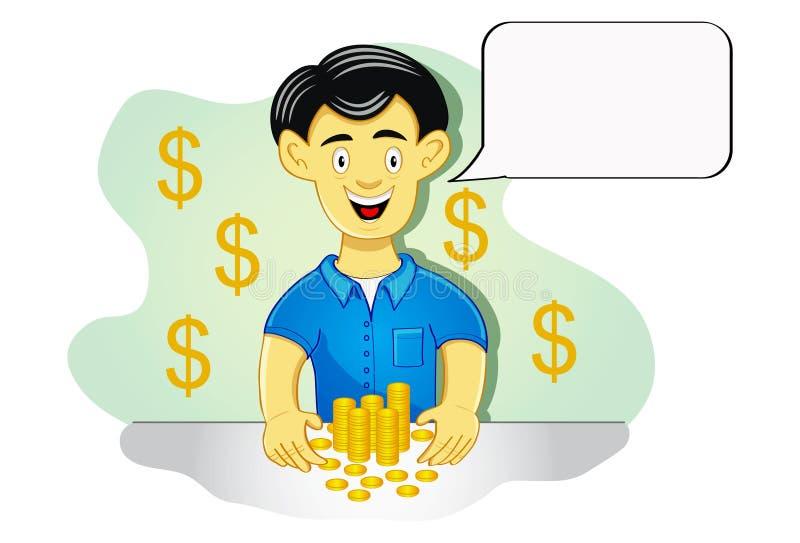 Homme avec des pièces de monnaie images stock