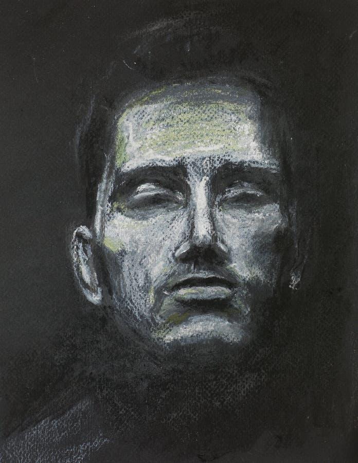 Homme avec des yeux fermés, dessin en pastel illustration stock