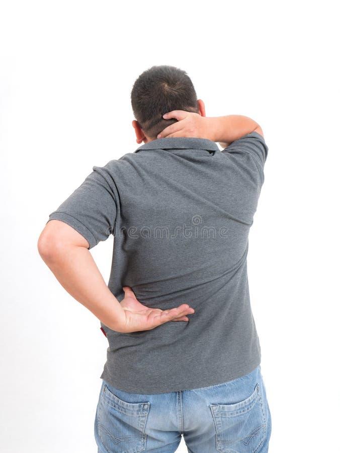 Homme avec douleur cervicale de dos et photos libres de droits