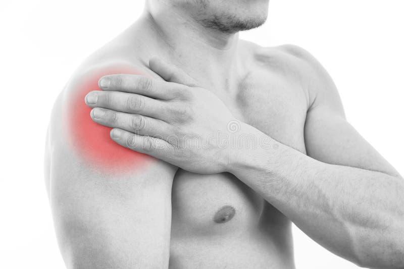 Homme avec douleur d'épaule photo libre de droits