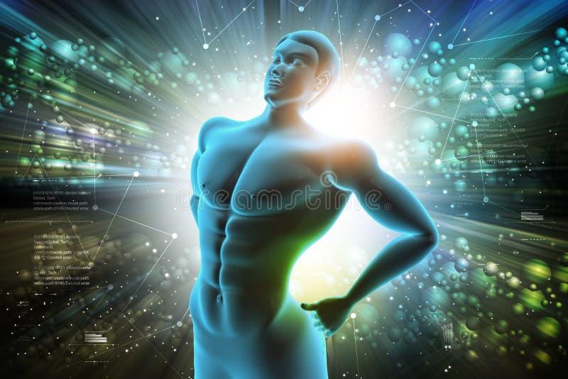 Homme avec douleur dorsale illustration stock