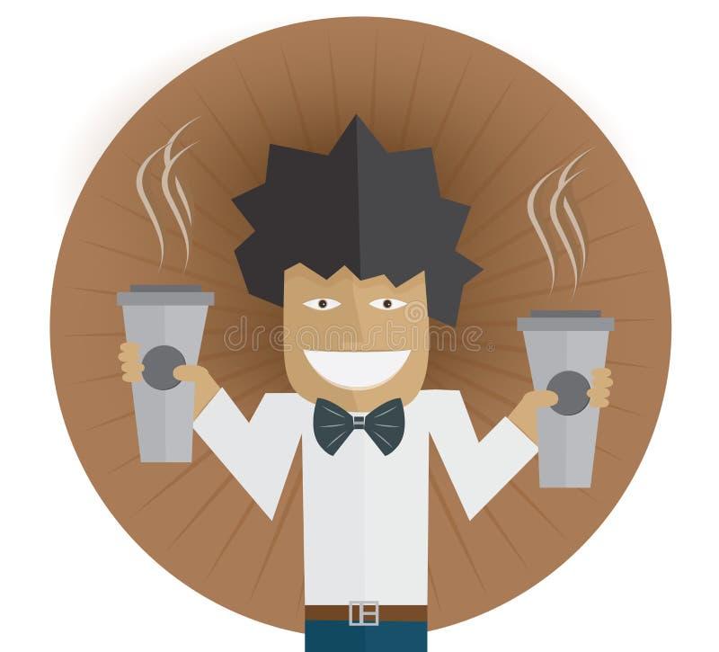 Homme avec du café deux illustration libre de droits