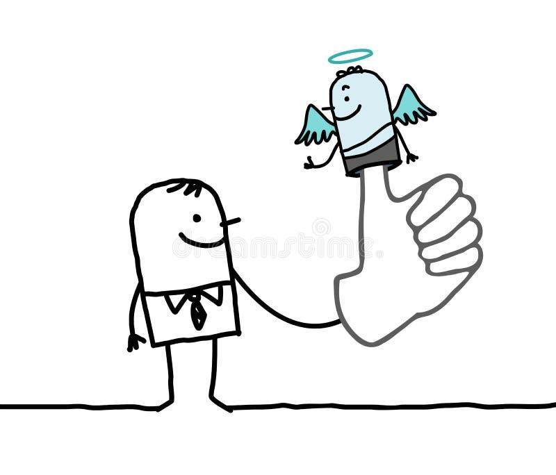 Homme avec l'ange de marionnette sur le doigt illustration de vecteur