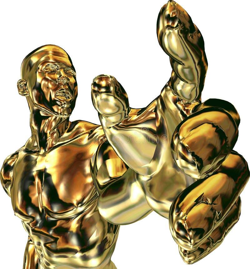 Homme avec l'atteinte de main d'or illustration stock