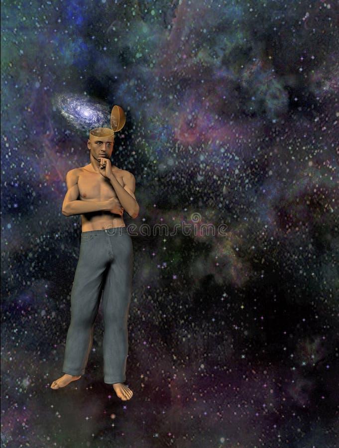Homme avec l'esprit de galaxie illustration stock