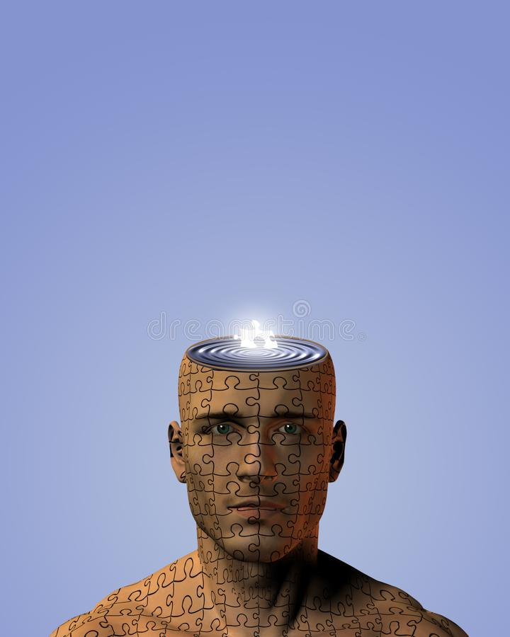 Homme avec l'esprit de morceau de puzzle illustration de vecteur
