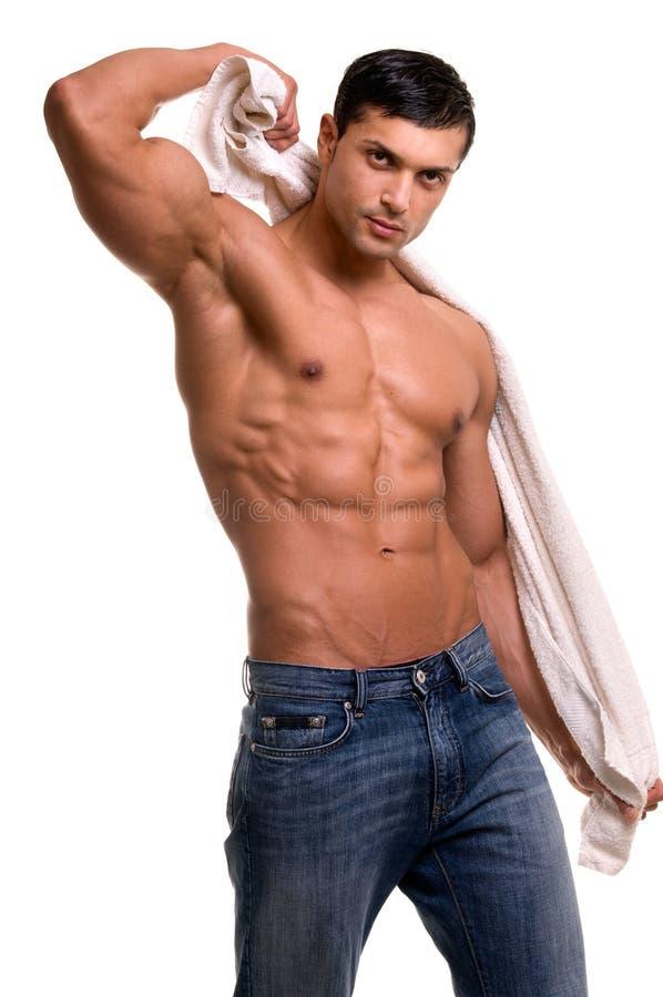 Homme avec l'essuie-main. image libre de droits