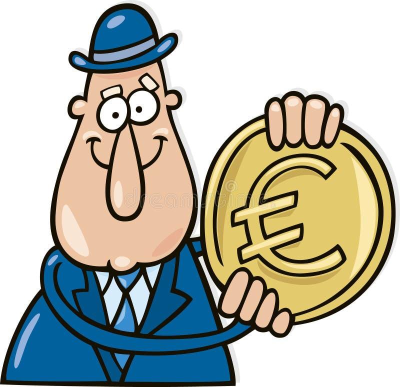 Homme avec l'euro pièce de monnaie illustration de vecteur