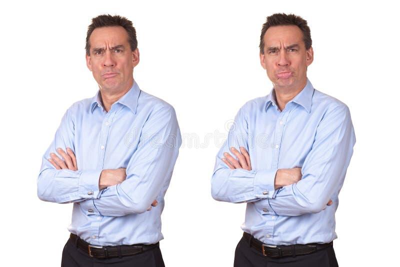 Homme avec l'expression malheureuse grincheuse photographie stock libre de droits