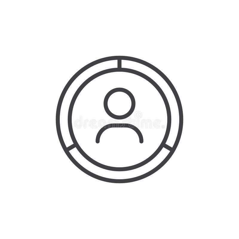 Homme avec l'icône d'ensemble de diagramme de cercle illustration libre de droits