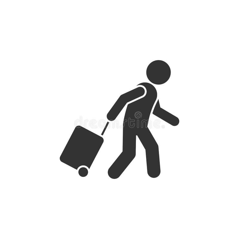 Homme avec l'icône de bagage Élément d'icône d'aéroport pour des applis mobiles de concept et de Web L'homme affecté avec l'icône illustration libre de droits