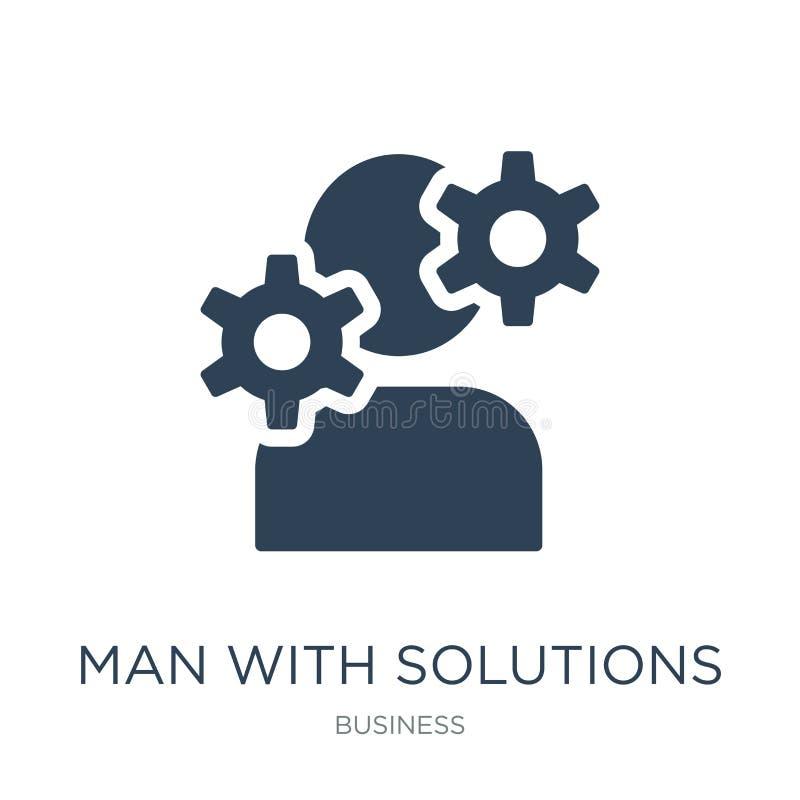 homme avec l'icône de solutions dans le style à la mode de conception homme avec l'icône de solutions d'isolement sur le fond bla illustration de vecteur